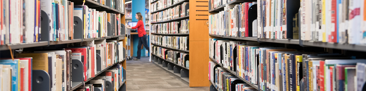 Looking down the shelves at the Library