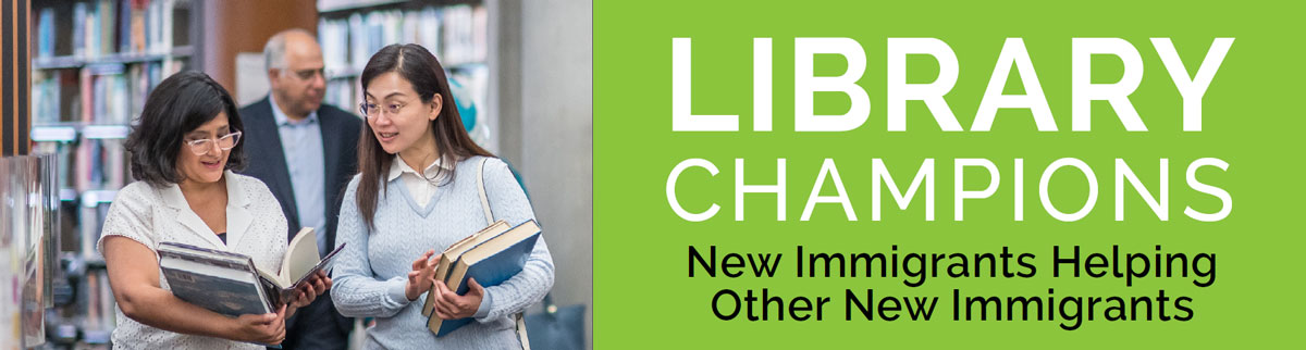 Library Champions banner: Two people talking at the Library