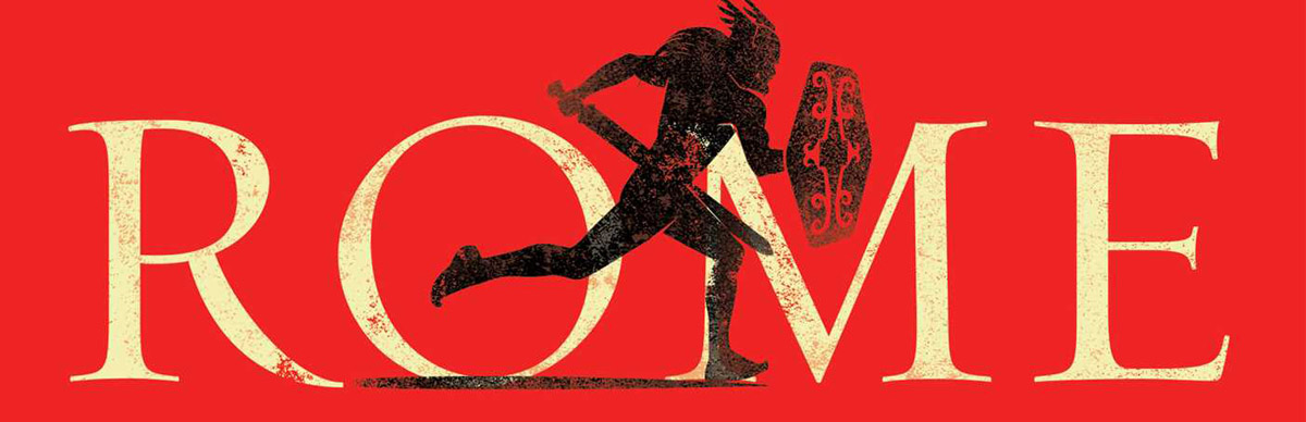 Silhouette of Roman warrior running in front of word ROME