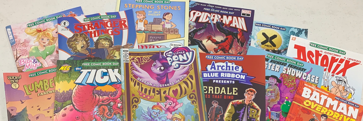 Assortment of comics for Free Comic Book Day 2020