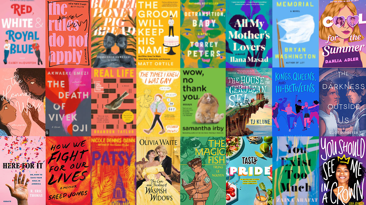 Book covers arranged by colour of Pride flag
