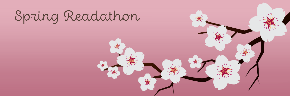 Spring Readathon banner featuring a branch of cherry blossoms