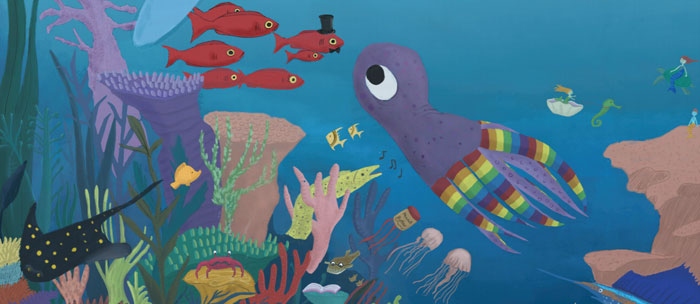 Under the sea illustration from 2019 Kids' Summer Reading Club poster