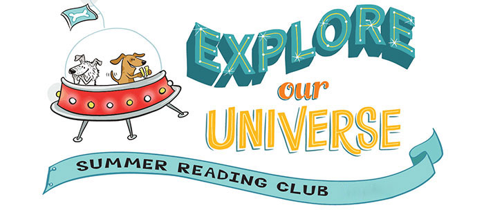 Illustration for 2020 Kids' Summer Reading Club logo: Explore the Universe