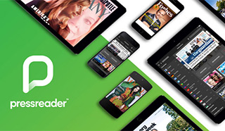 PressReader logo and different mobile devices showing digital magazines and newspapers